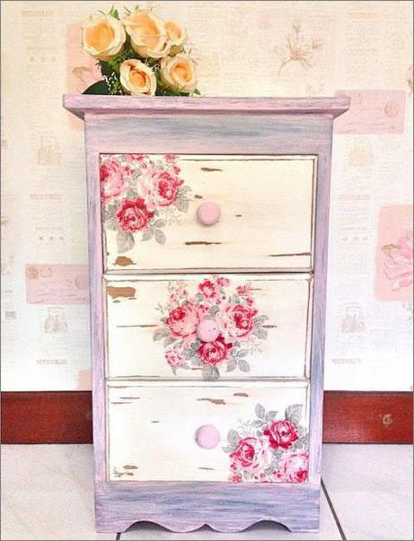 decoupage of old chests of drawers
