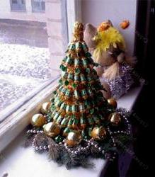 Christmas tree of sweets and champagne