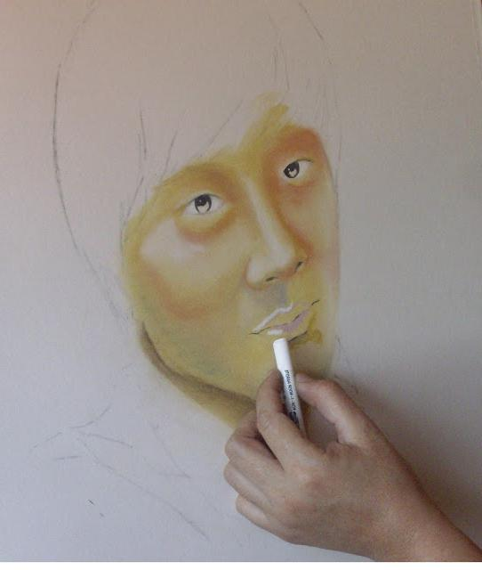 how to draw a portrait pastel